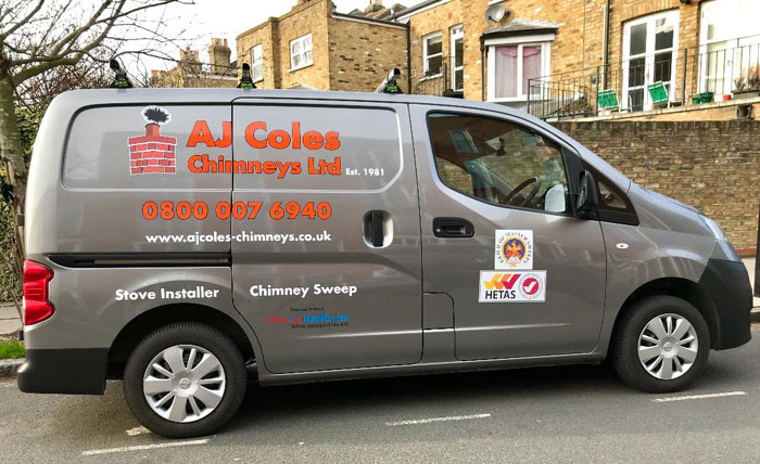 Alan Coles Barnet chimney sweep van